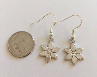 Flower Earrings-Tiny Sterling Silver Earrings
