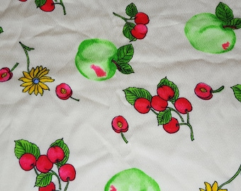"SALE vintage 60s THC hawaiian textiles novelty print fabric, featuring great fruit and flower style design, 45"" x 21"""