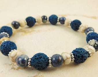 Denim Blue Lava Rock and Sodalite Stretch Bracelet