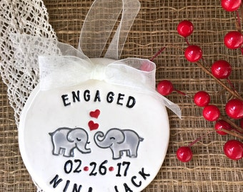 Personalized Ceramic Engagement Ornament or Wedding Ornament with Elephant Couple in Love