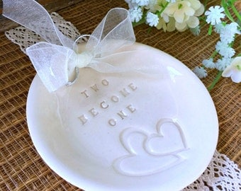 Ring Bearer Pillow - Two Hearts Become One Wedding Ring Holder Dish for Ring Pillow Alternative