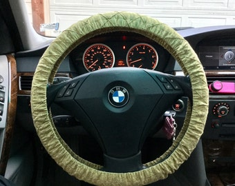 SALE Quilted Gold Steering Wheel Cover