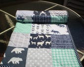 Baby Quilt, baby deer quilt, Baby Boy Bedding, Baby Girl Quilt, crib quilt, Woodland, mint, grey, navy, Bear, Moose, Arrow- And Bullwinkle