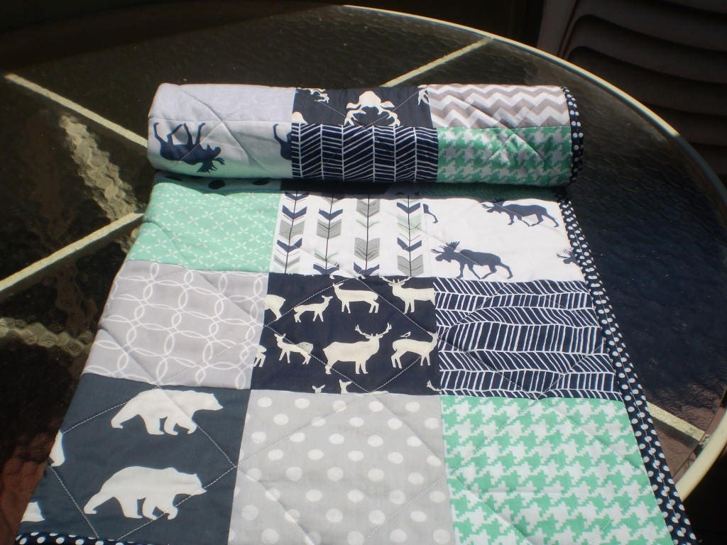 Crib size quilts for sale - Baby Quilt Baby Deer Quilt Baby Boy Bedding Baby Girl Quilt Crib Quilt Woodland Mint Grey Navy Bear Moose Arrow And Bullwinkle