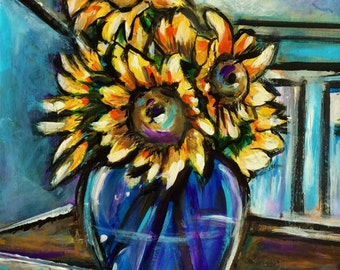 Vase of Sunflowers - Original Painting