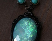 HAPPY HOLIDAYS SALE - Neo victorian Goth Jewelry - Necklace - Aqua Opalescent Pendant and Uranium glass beads - Black Gun metal