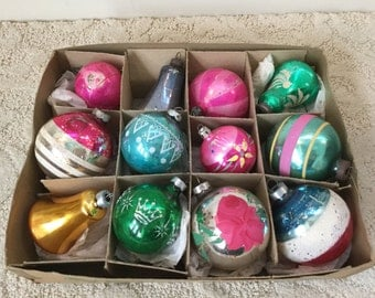 Vintage German Christmas Ornament Balls and bells Set of 12
