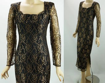 Vintage 1990s Formal Dress Black and Gold Lace Form Fitting Party by California NOS Sz 4 B35 W28