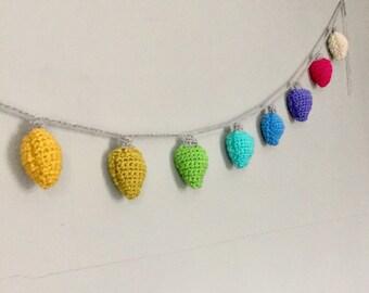 Crochet christmas bulb garland ornament multicolor