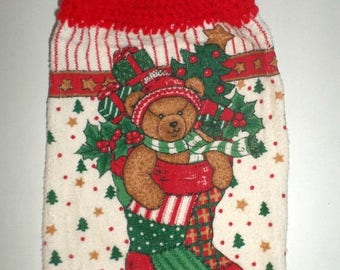 Spring Sale Christmas Hanging Towel, Teddy Bear in Stocking, Hanging Dish Towel, Crochet Top Towel, Holiday Towel, Fringed Vintage Towel, Ki