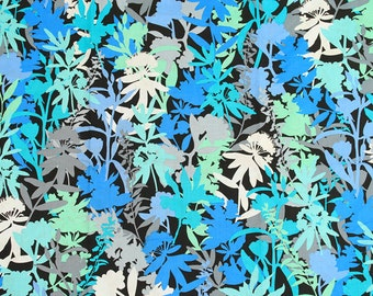 4295 - Blue & Green Floral Cotton Fabric - 59 Inch (Width) x 1/2 Yard (Length)