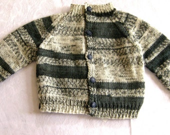 toddler hand knit sweater, 6 - 12 mos size, Grey white striped sweater, raglan sleeves, cardigan, button front