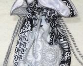 Lacy Flowers Jewelry Pouch, Jewelry Travel Organizer Pouch in black, white, grey