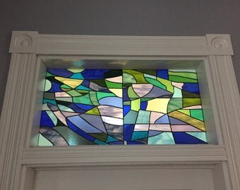 """Stained Glass Transom - """"Sagrada Familia in Blues & Greens"""" (TW-71)"""