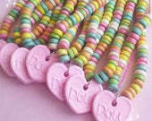 Candy Necklace Faux Candy Necklace Pastel Candy Choker Rainbow Choker Conversation Heart Necklace 90s Jewelry Kawaii Food Jewelry