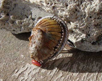 Vintage Navajo Ring Sterling Petrified Wood & Spondylus Sioux Chief Southwestern Indian Sz 6