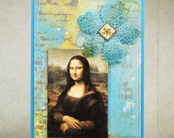 Handmade Greeting Card, Mona Lisa, Fine Art Card