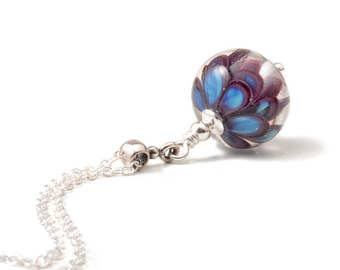 Violet Blue Flower Pendant | Deep Purple and Blue Lampwork Glass and Sterling Silver Necklace | UK Lampwork Jewellery