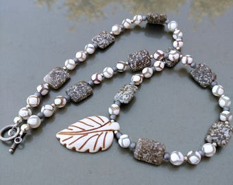 Agate and Jasper Necklace and Earring Set