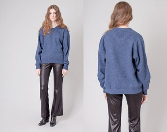 LAMBSWOOL blue OVERSIZE sweater knitwear fall winter Unisex vintage / Medium / better Stay together
