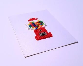 What's Popping? - Perler Fuse Bead Greeting Card - Birthday Wishes - Hello - Love - Candy - Retro - Gumball Machine - Bubblegum