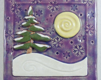 "Pine Tile with Snow Flakes~ Ceramic Stoneware ~ Up North ~ 4"" x 4 inch ~ Decorative Tile ~ Purple ~ Winter"