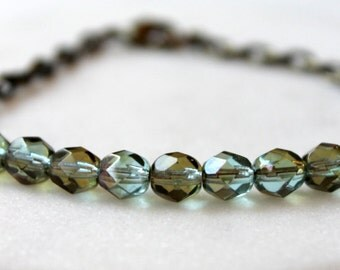 Czech Bead Bracelet / Earthy Aqua Blue with Picasso Finish / Glass Bead Brass Bracelet / Layering Bracelet / Boho Chic Bracelet / Bohemian