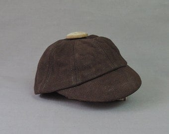Vintage Little Boy's Wool Cap, Brown Hat 1920s 1930s