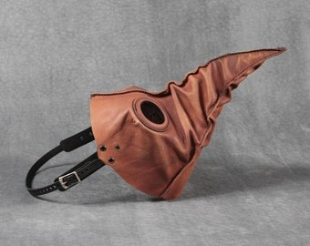 Jackdaw leather plague doctor mask in light brown