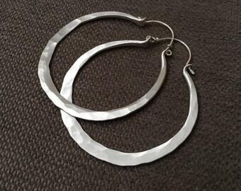 Sterling Silver Hoop Earrings Tribal Hoops Silver Earrings DanielleRoseBean Blade Hoops Large Hoops Thick Hoop Earrings