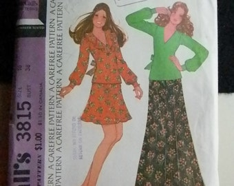 Vintage McCall's Misses or Junior Top and Skirt Pattern #3815, Uncut Size 16