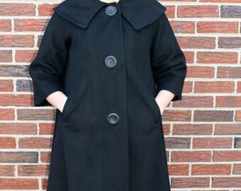 1960s Black Swing Coat