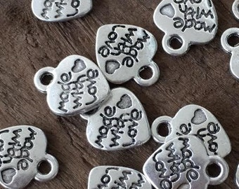 30 Made With Love Heart Silver Charms 12x10mm Small Destash Jewelry Supplies Metal Hearts