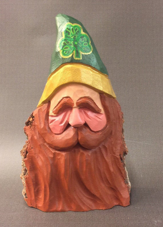 HAND CARVED original Irish Santa bust  from 100 year old Cottonwood Bark.
