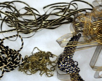 5 Different Trims in Gold with Black for Trim Sewing Crafts Miniatures Trims - Vintage