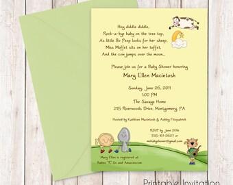 Nursery Rhyme Baby Shower Invitation, Printable Invitation Design, Custom Wording, JPEG File