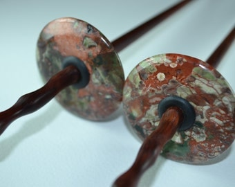 Drop Spindle Tool for Spinning and Making Yarn - Spiderweb AGATE Stone Whorl with Carved Redwood shaft