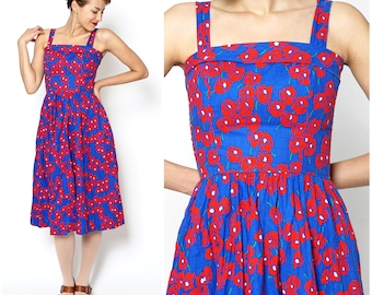 Vintage 1970s Bright Blue and Red Poppy Floral Convertible Sleeveless Sundress with Pockets by Lanz | Small
