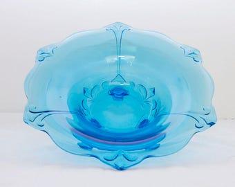 Blue Glass Bowl, Footed Bowl, Vintage Glass, Blue Glass, Vintage Console, Fruit Bowl, Vintage Dining, Wedding Gift, Vintage Decor, Kitchen