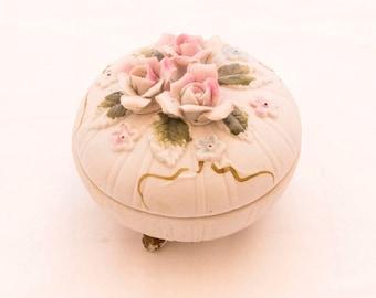 China Trinket Box, Jewelry Box, Lidded Trinket Box, Sculpted Rose, Rose Bud Box, Tiny Trinket Box, Footed Keepsake Box, Pattern 1268