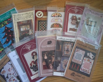 Craft Pattern Destash ~ CLEARANCE SALE - Quilt, Crafts, Doll Patterns Lot of 13 Uncut & Unused