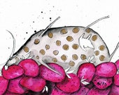 Cow art 8x12in A4 ink painting  - gold dotted cow resting on strawberries