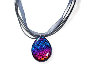 Rainbow Teardrop Necklace- Modern Statement Necklace- polymer clay Jewelry- Ribbon Necklace- Dichroic Necklace