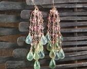 Prehnite earrings, Tourmaline earrings, Gemstone 14k Rose Gold filled earrings , Spring jewelry ... AQUANETTA Earrings
