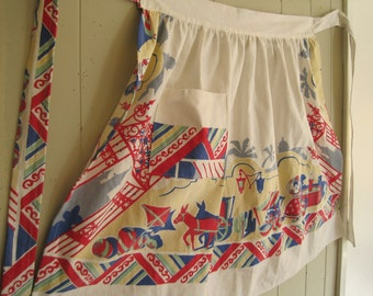 Vintage APRON - Mexican Tablecloth Table Linen -  Retro Textile - Southwestern Senorita - Fiesta Wear