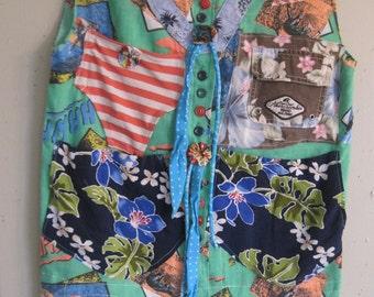 Kauai Maui Oahu Hawaii -- Altered Aloha Vintage HAWAIIAN SHIRT - Luau Beach Dress -Surf Surfer Girl - Fabric Collage Clothing - mybonny