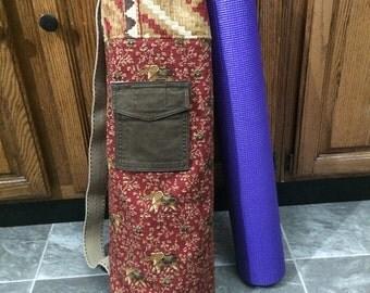 Yoga Mat Bag made from upcycled recycled elephant print fabric Namaste