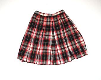 50s plaid vintage skirt 1950s vintage mini skirt TARTAN plaid wool pleated school girl grunge skirt 26
