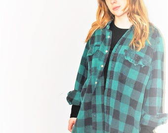 90s grunge buffalo check plaid flannel shirt unisex button up green plaid shirt size large