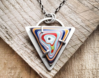 Fordite necklace, Detroit Agate necklace, fordite jewelry, girlfriend gift, wife gift, sterling silver statement necklace, gift for her